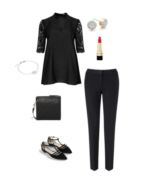 Black trousers & black top