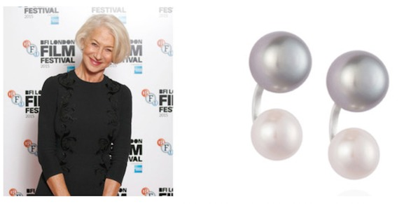 Helen Mirren in duo pearls