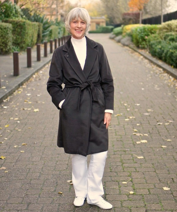 MaxMara coat worn with white jeans
