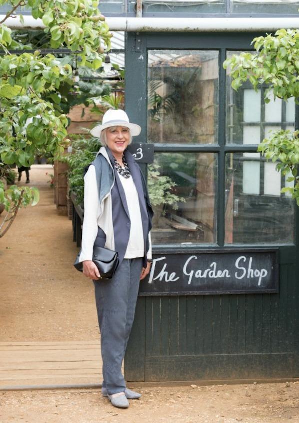 Grey trousers+ scarf at Petersham