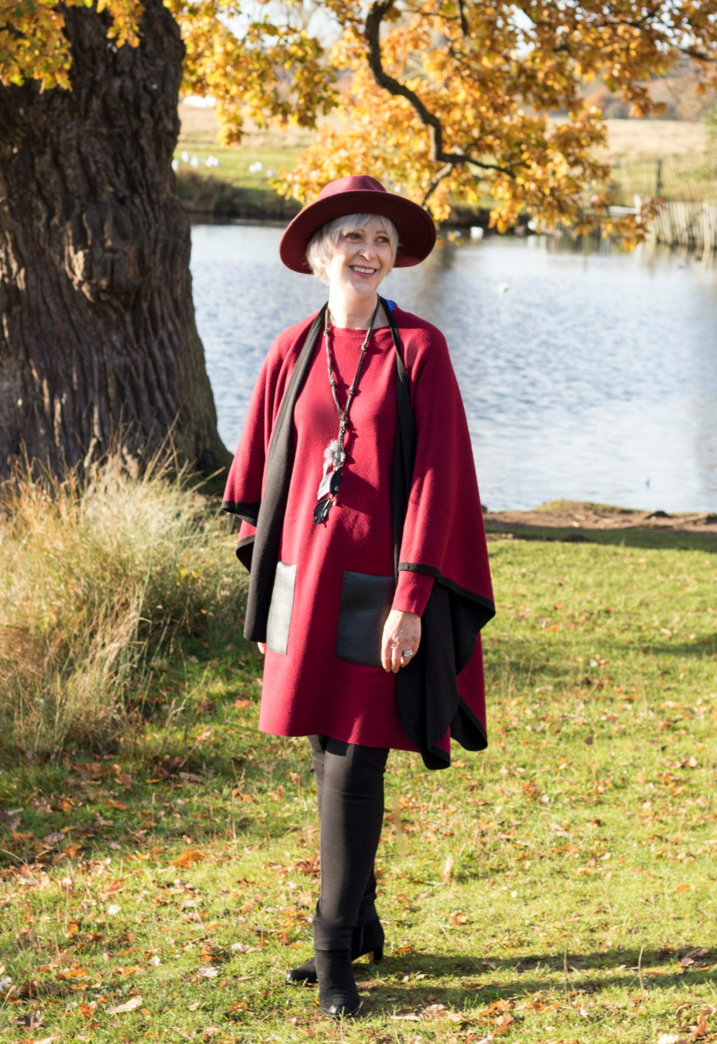 Burgundy tunic dress and poncho