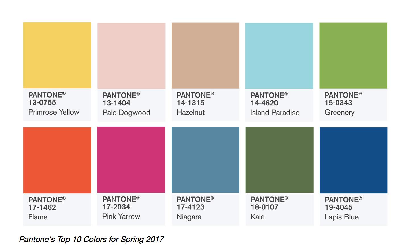 Spring 2017 Pantone colour palette
