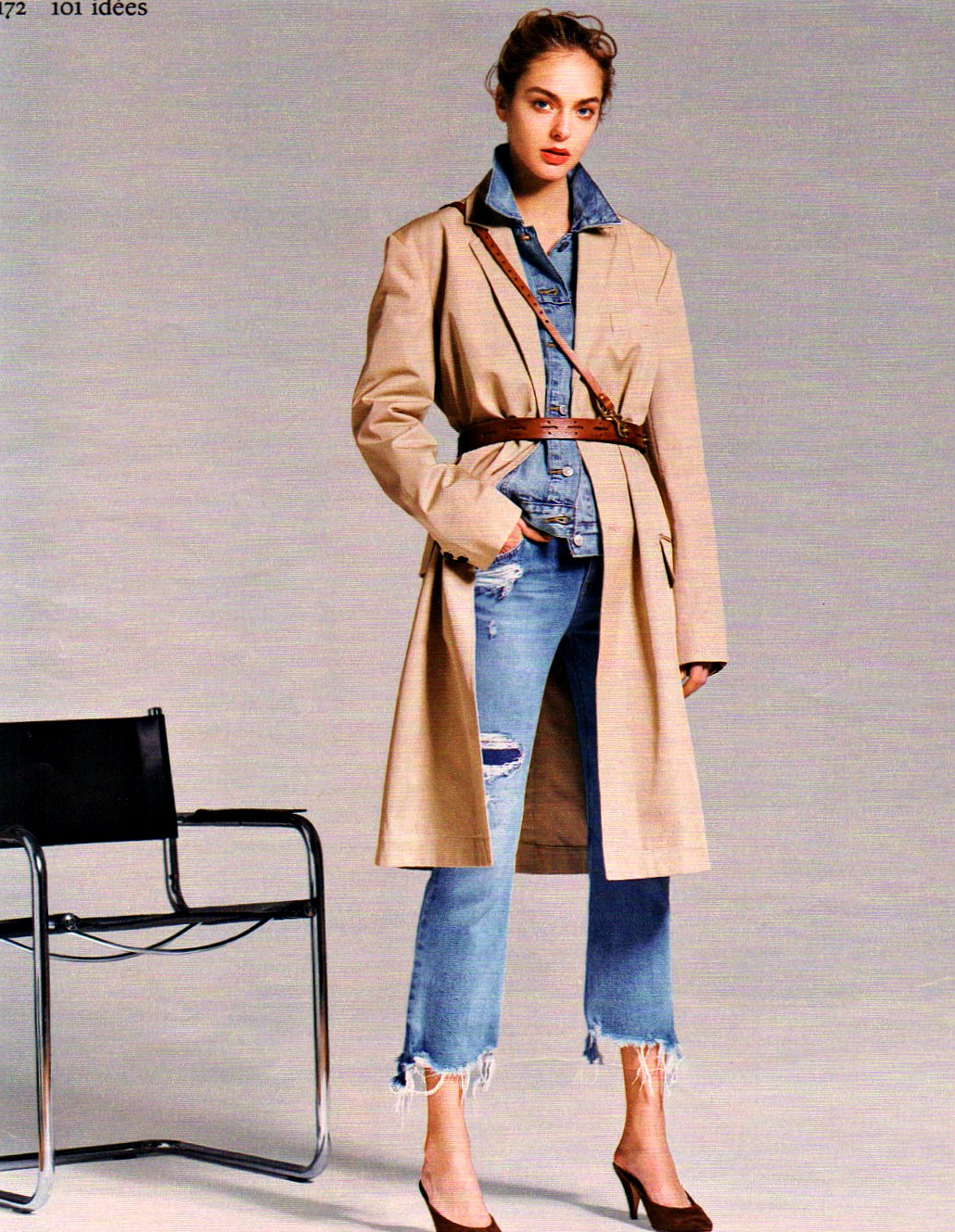 Trench coat and jeans