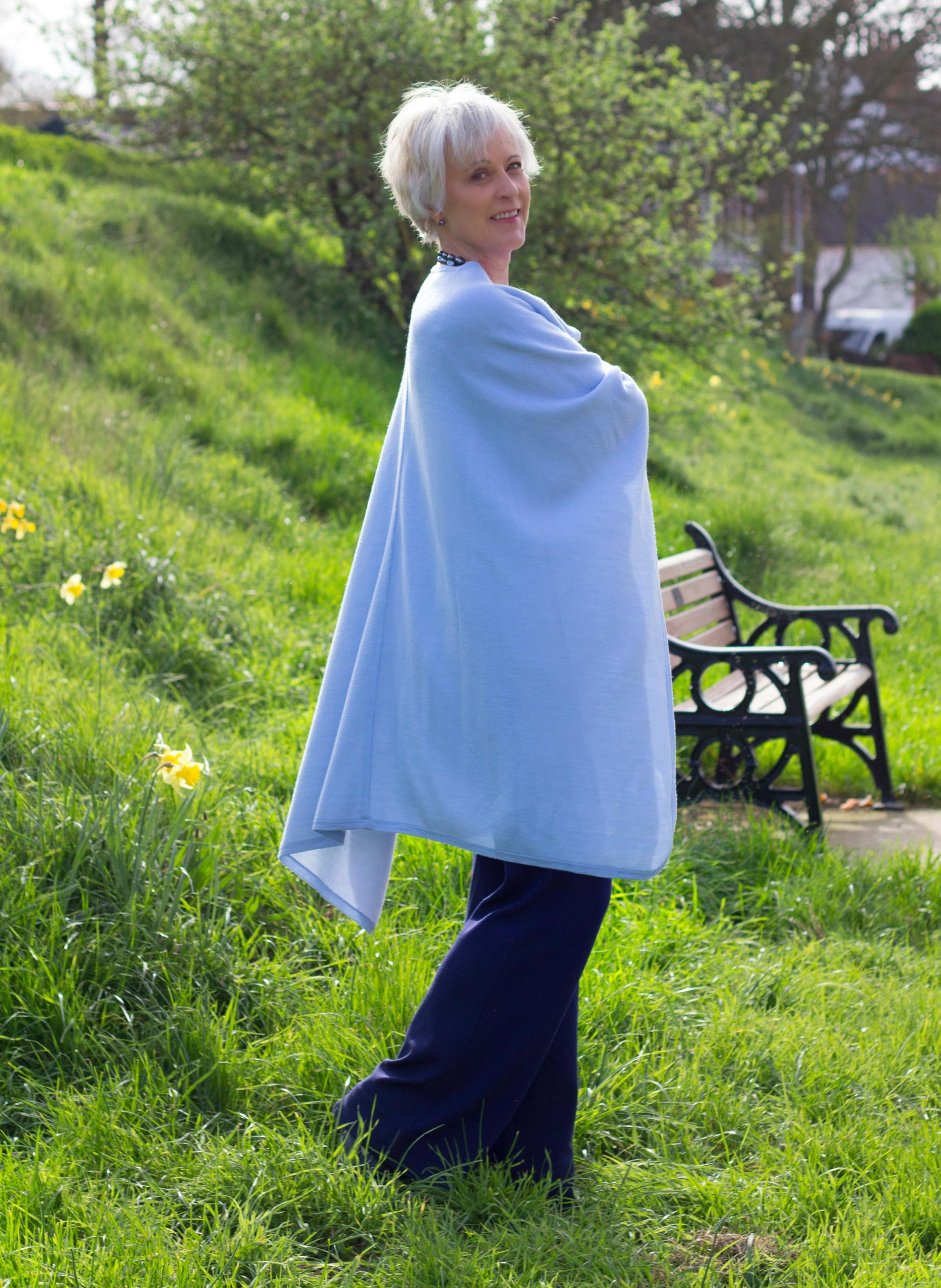 Blue cape for spring