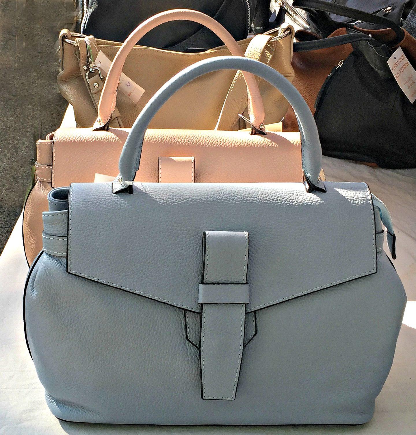 Pastel coloured handbags