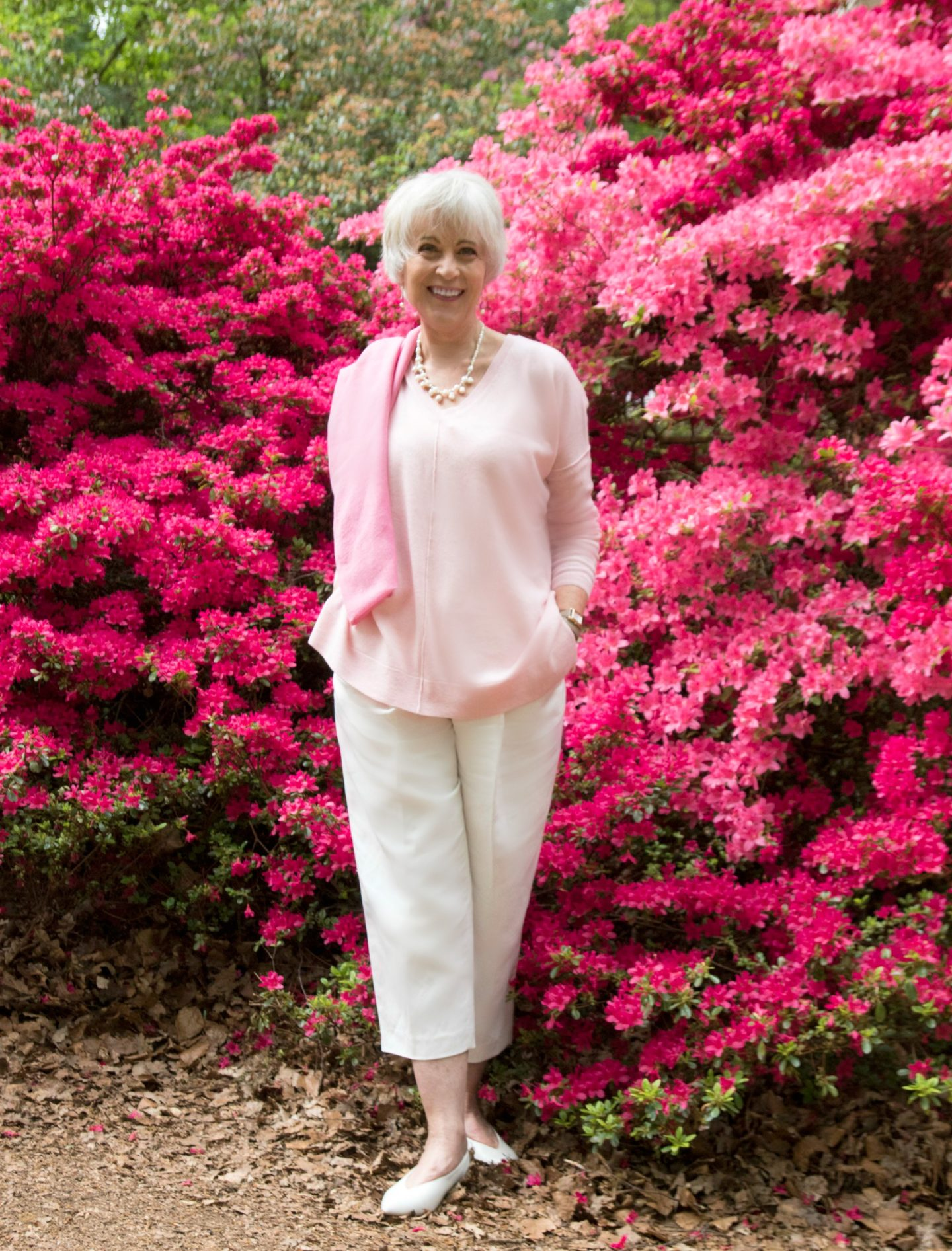 Pink sweater with azaleas