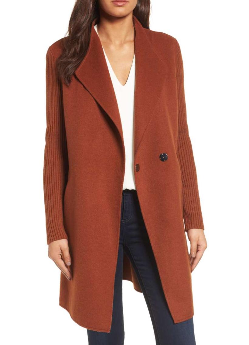 Rust coat at Nordstrom