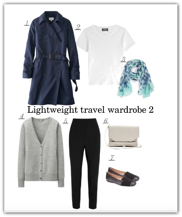 Lightweight travel outfit with trench coat