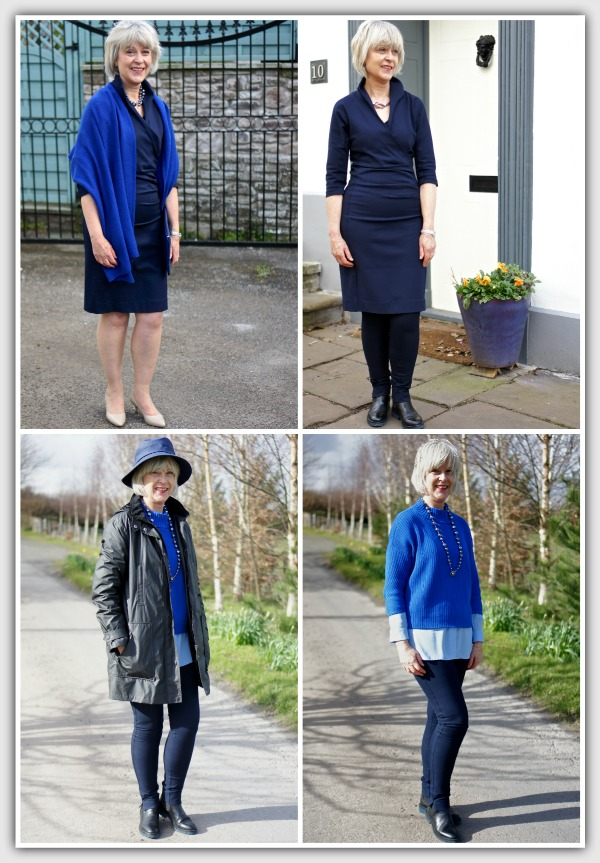 Capsule wardrobe - Dress, coat, sweater, leggings, top, shawl