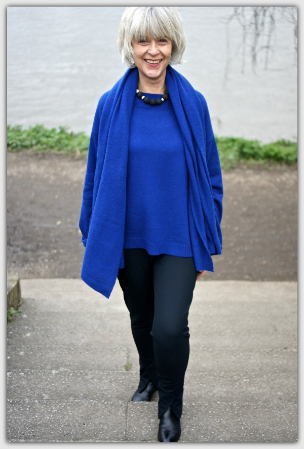 Fashion advice for women over 50. Blue cashmere sweater and blue pashmina shaw. by Winserlondon.com