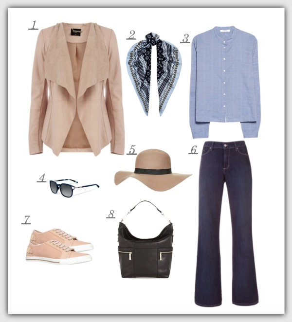Fashion advice for women 40+ Suede jacket teamed with jeans, blue shirt, hat, bag and shoes.