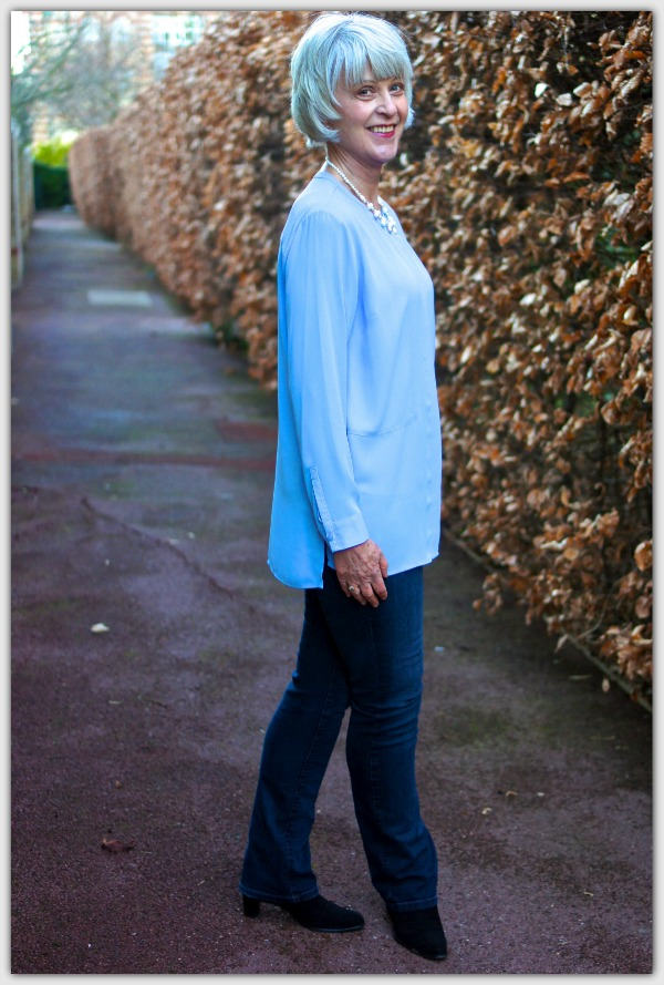 Advice for women 50+. Pale blue tunic for Spring