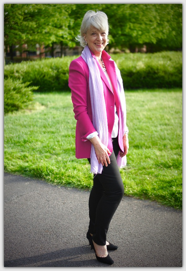 Fashion advice for women 50+ Pink jacket with leggings and lilac scarf