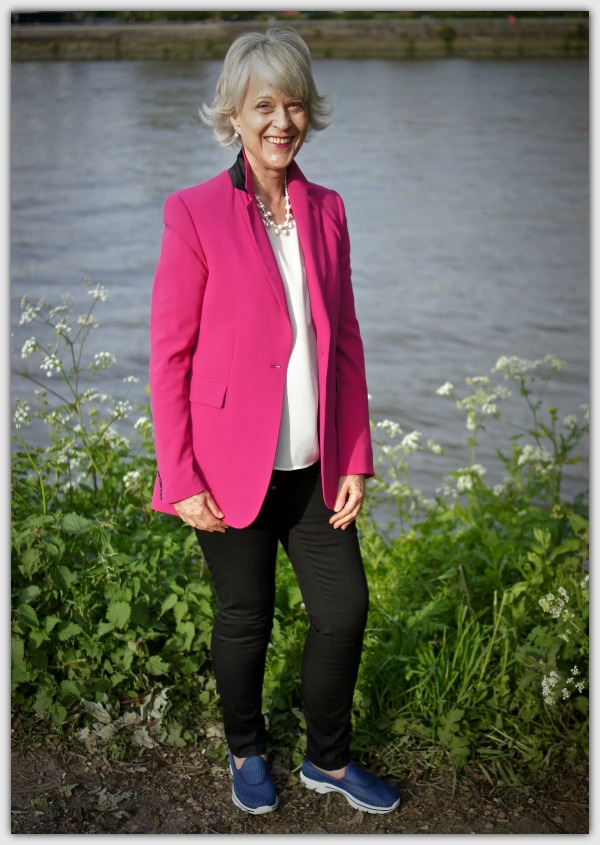 Fashion advice for women 50+ Pink jacket styled casually