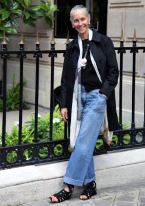 How to wear wide leg trousers - blue jeans