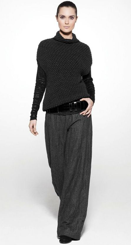 How to wear wide trousers - Black