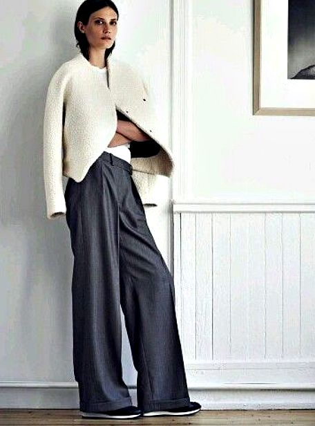 How to wear wide trousers - cream jacket
