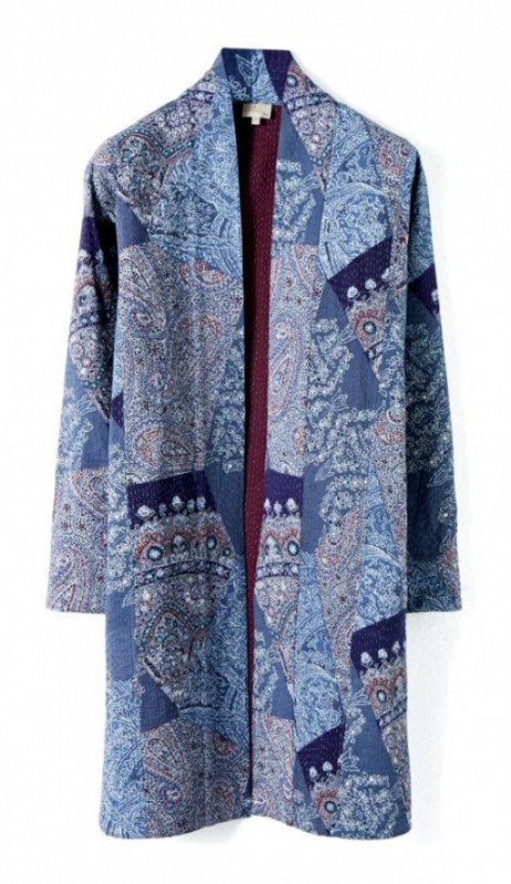 East blue patchwork coat
