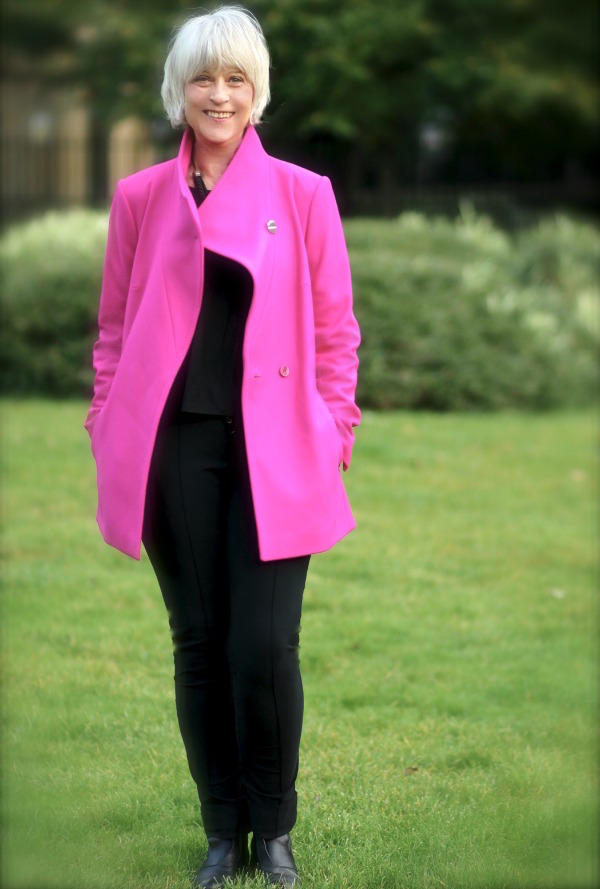 How to style a pink coat open