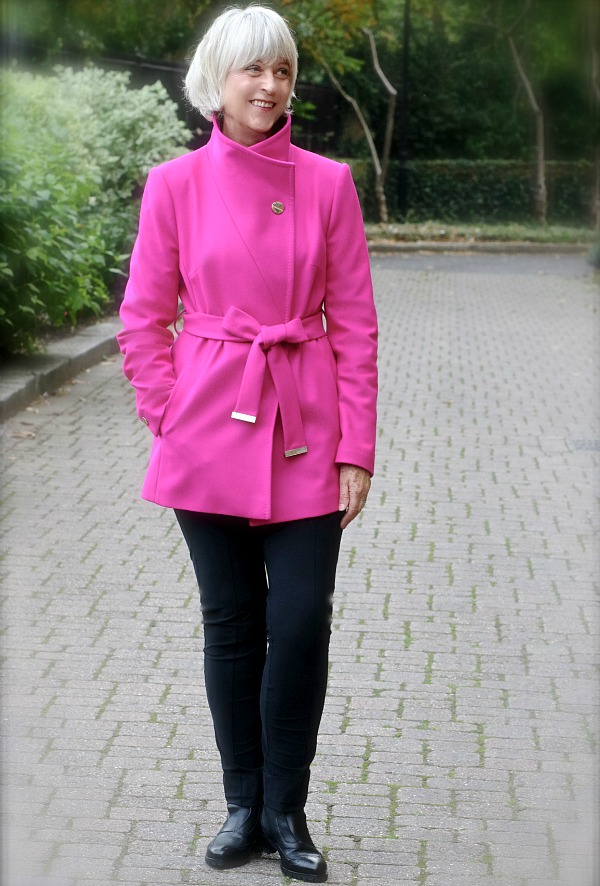 How to style a pink jacket with collar
