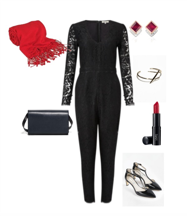 Black jumpsuit with red accessories