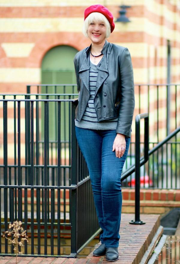 Black biker jacket plus grey stripe sweater