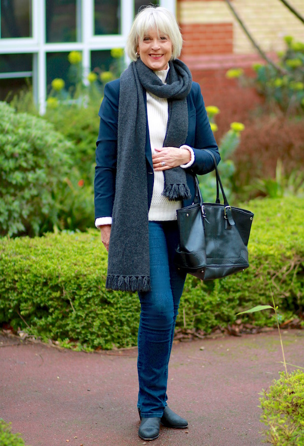 Navy blazer with scarf and bag