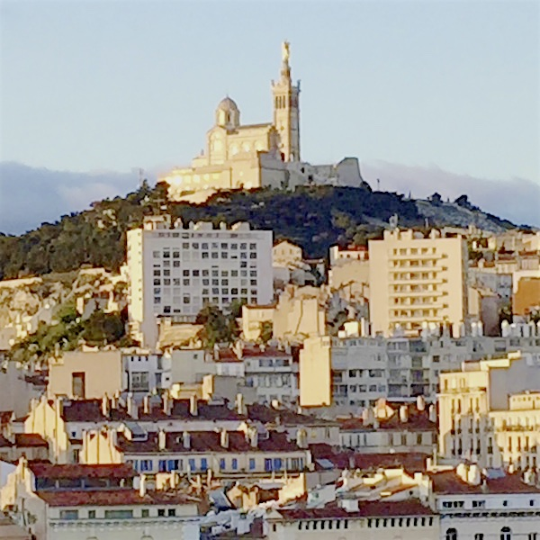 View of cathedral de la Garde early morning from hotel