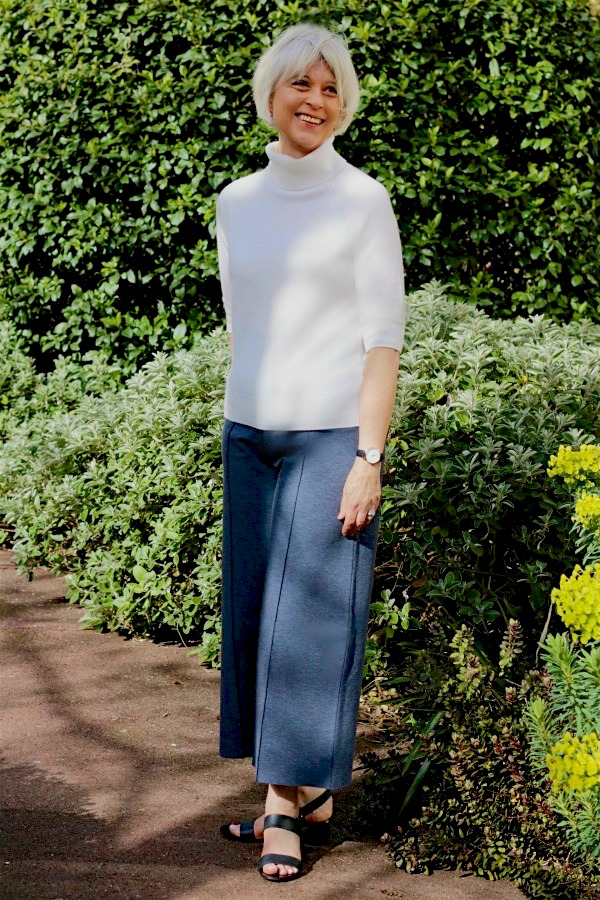 grey wide trousers and cream top 2