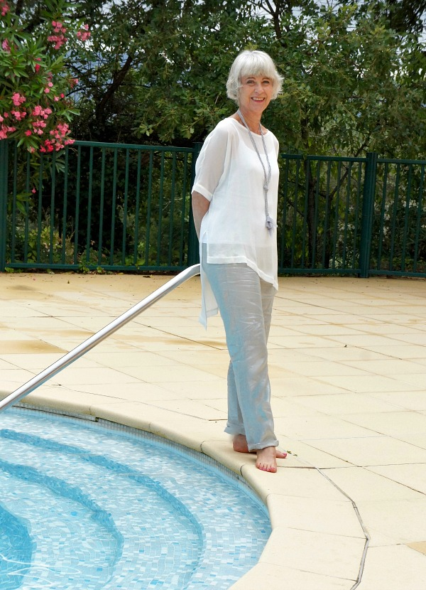 Hope grey linen trousers by pool