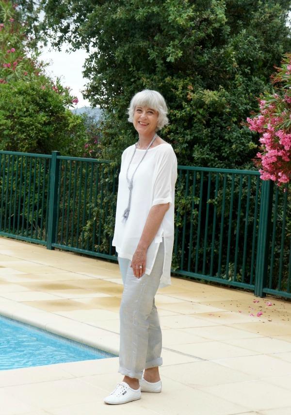 Hope grey trousers & silk top