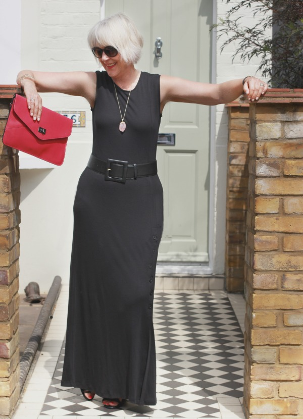 How to accessorise a long black dress