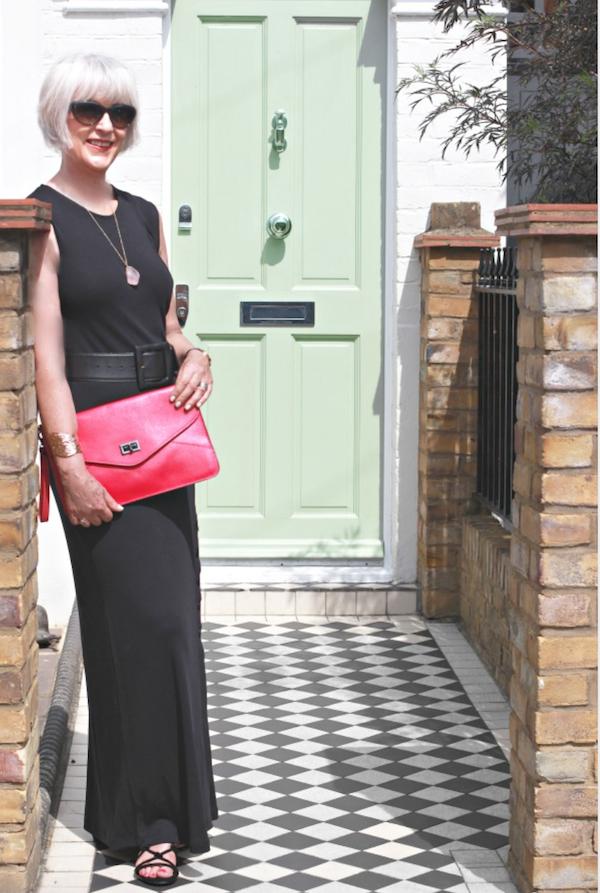 Black dress + bag - green door