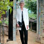How I wear a cream jacket with black trousers