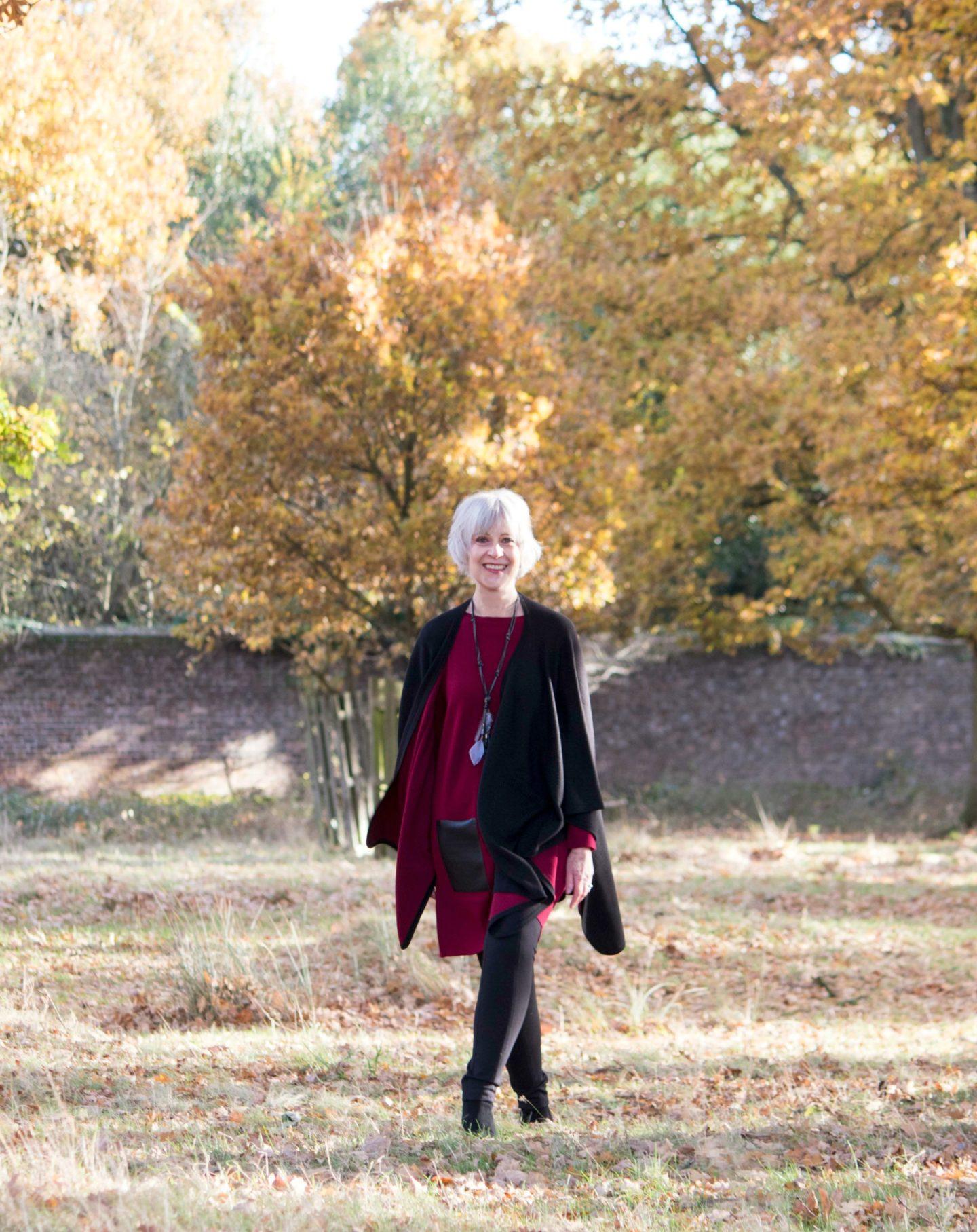 burgundy-dress-with-black-cape