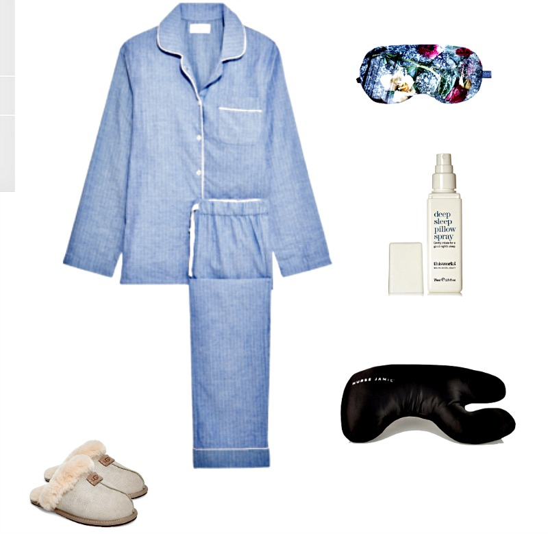 Blue cotton flannel pyjamas & silk eye mask