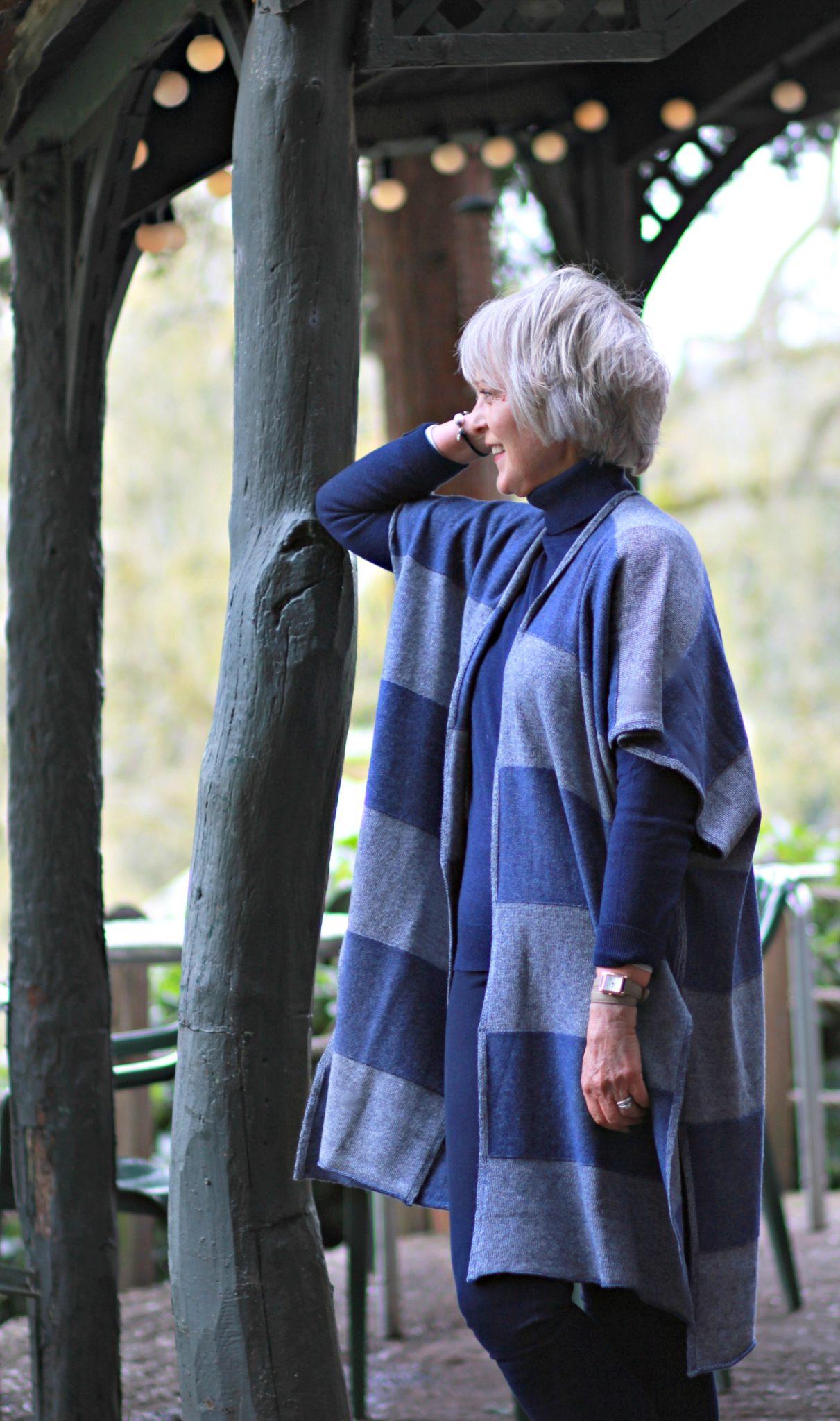 Striped knit kimono