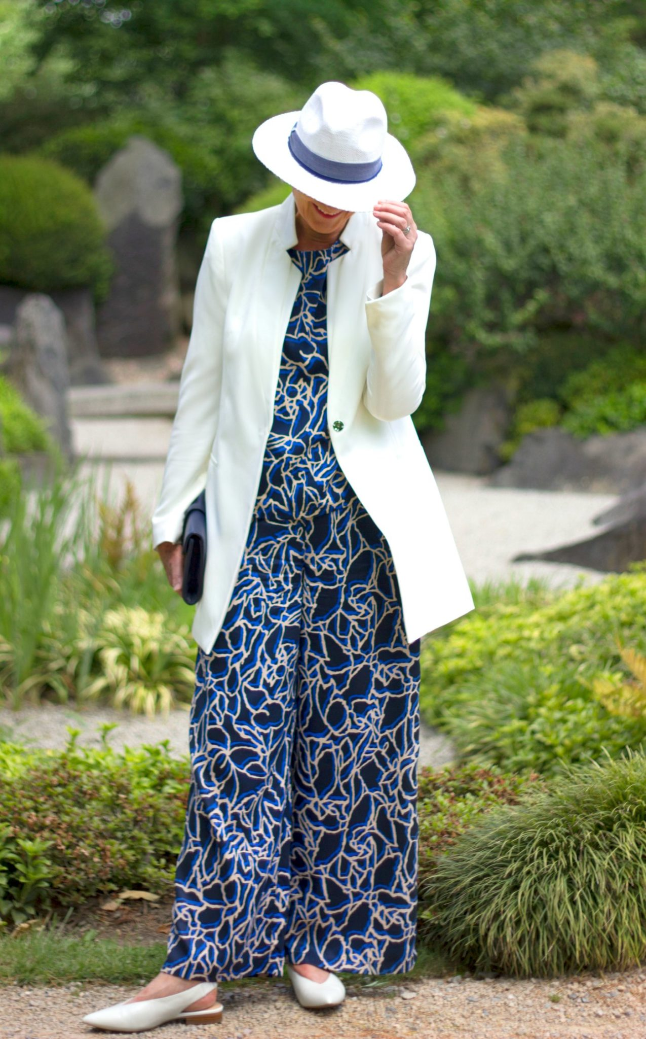 Blue print trousers & top cream jacket