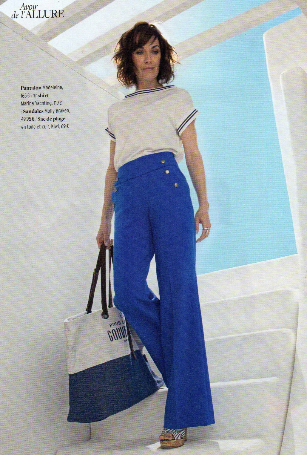 wide blue trousers