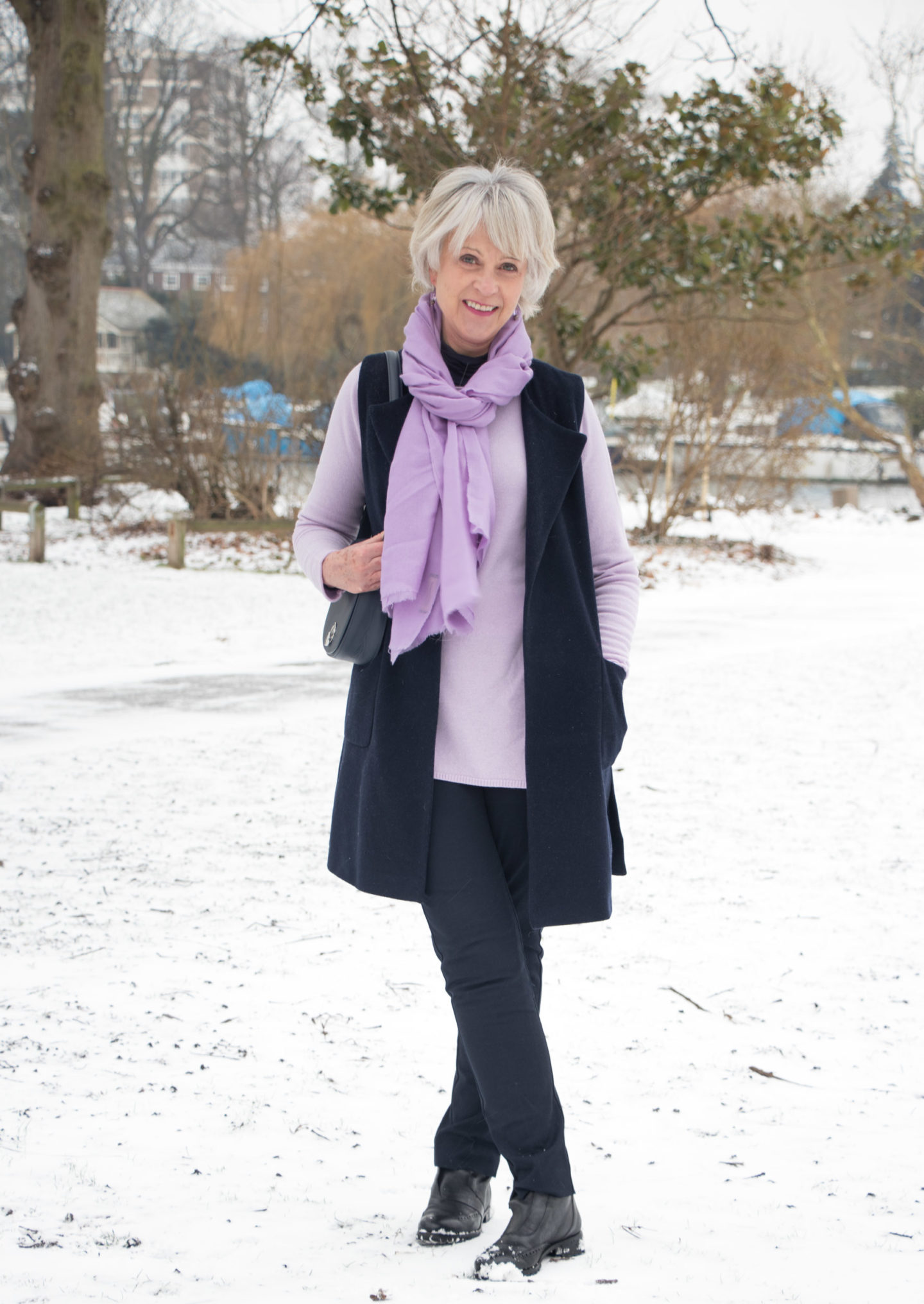Lilac is the colour of the season! Tone down your pastels with navy