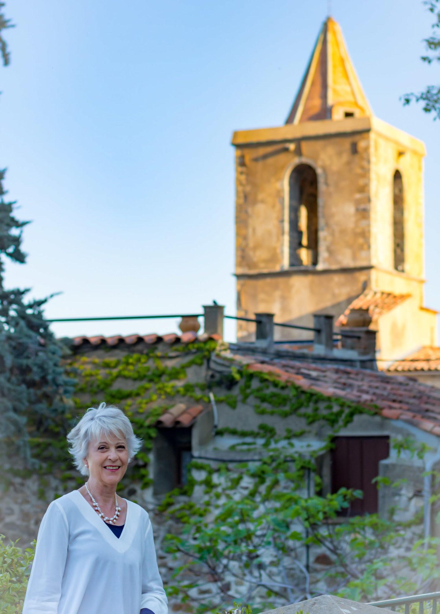 Grimaud village church at twilight