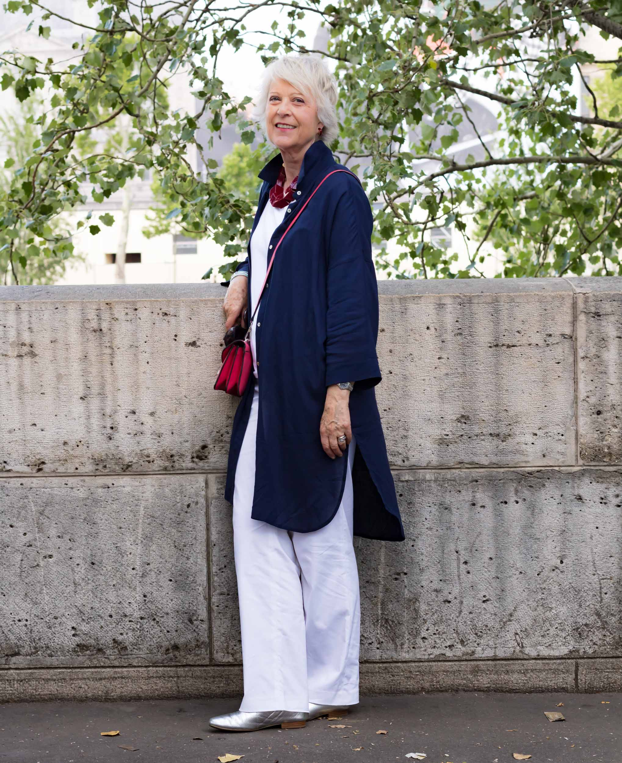 White trousers and tee shirt with navy shirtdress