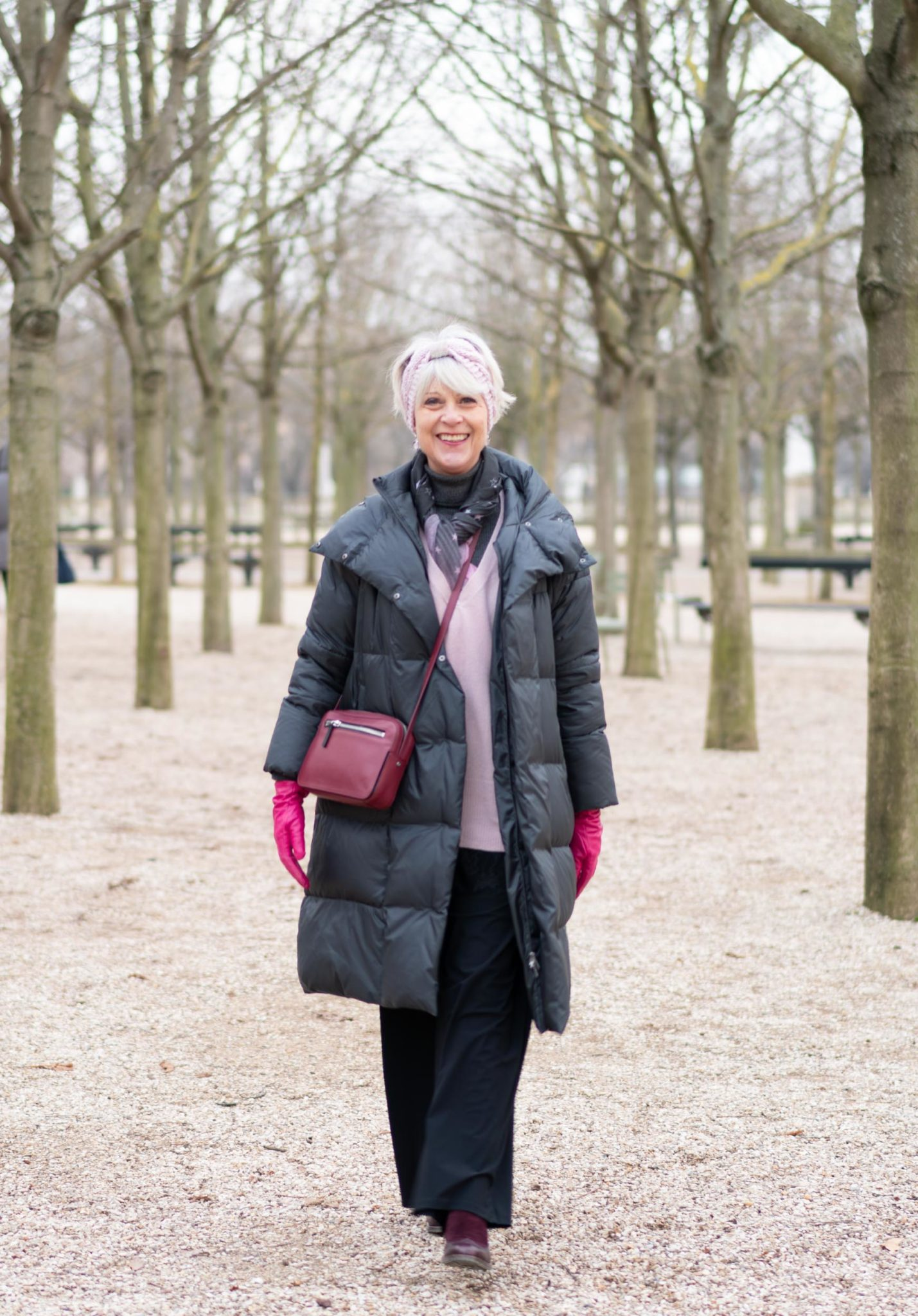 Grey puffer coat in Paris
