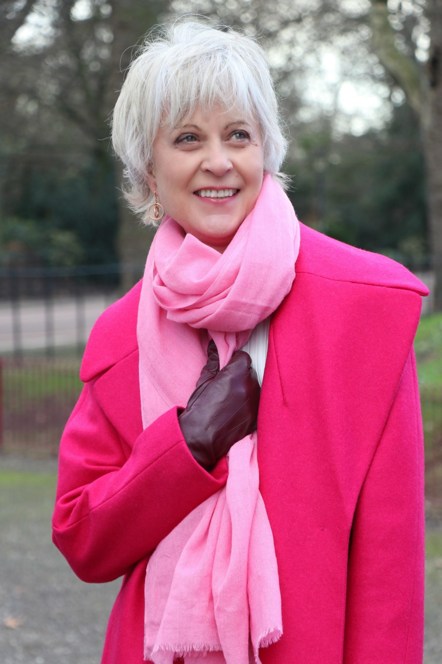 Pink coat and scarf
