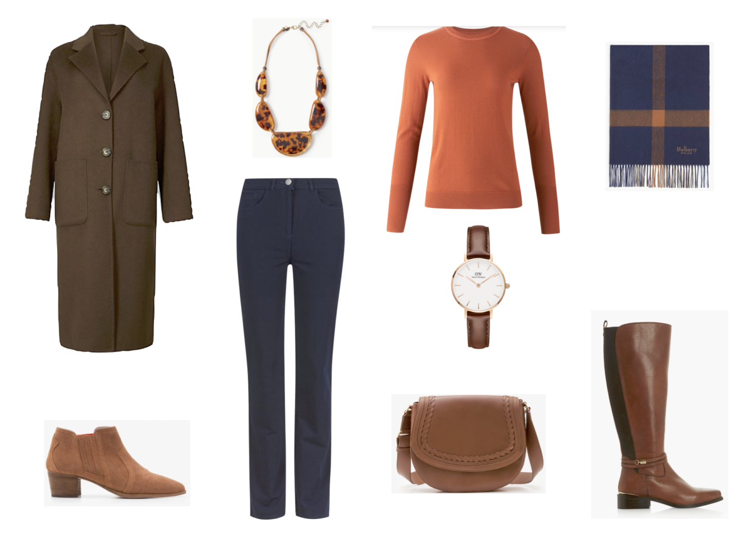 Brown and navy outfit combinations