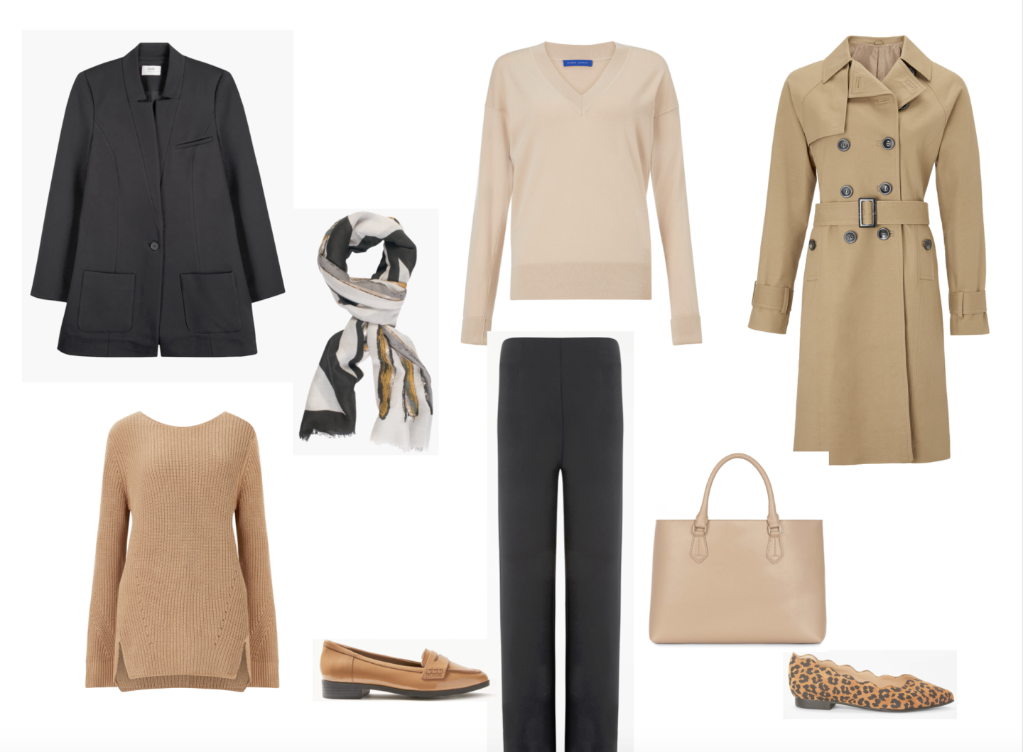 Black and beige outfit combination