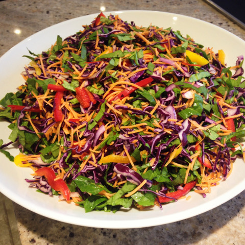 Red cabbage slaw salad