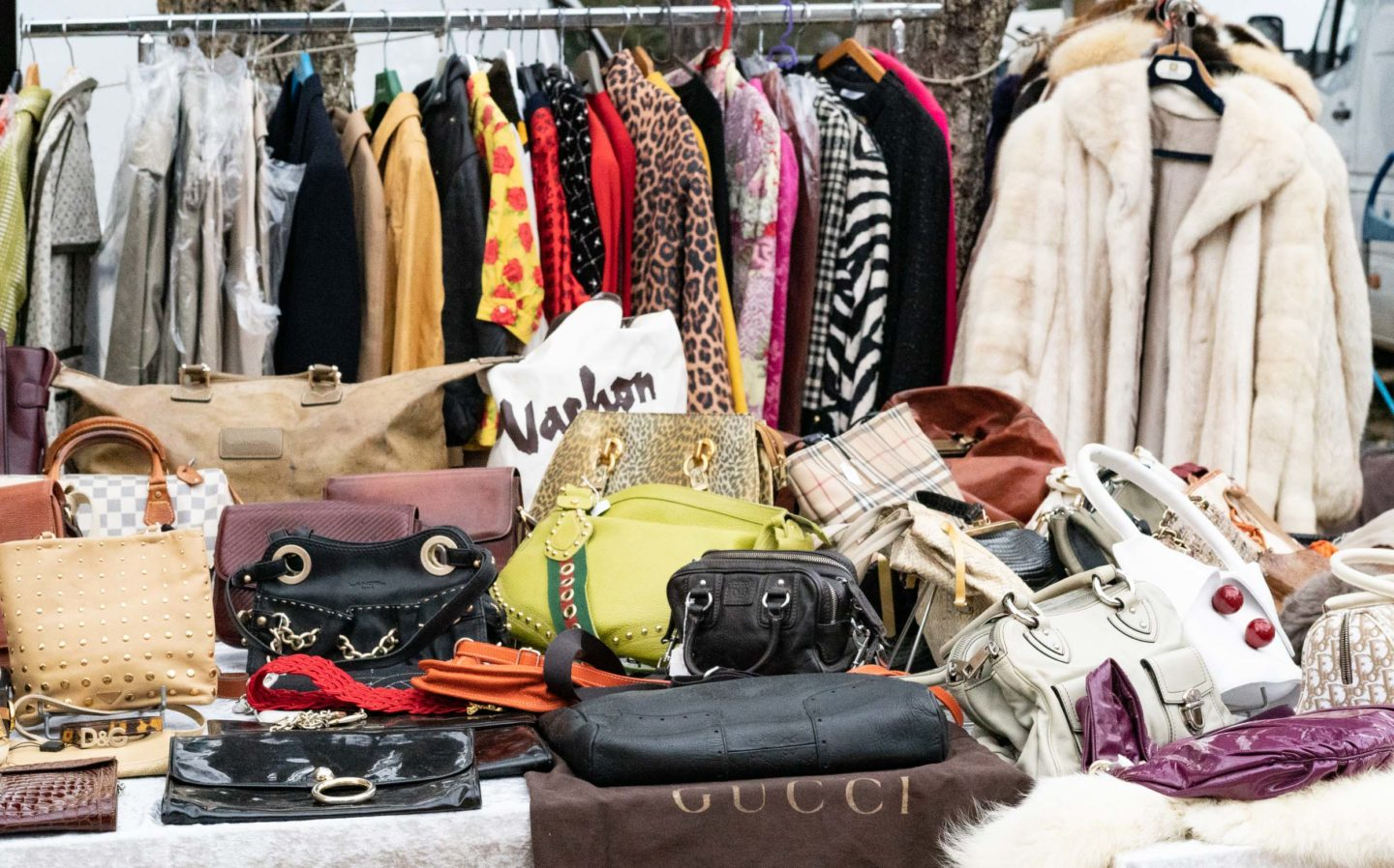 Vintage clothes in french flea market