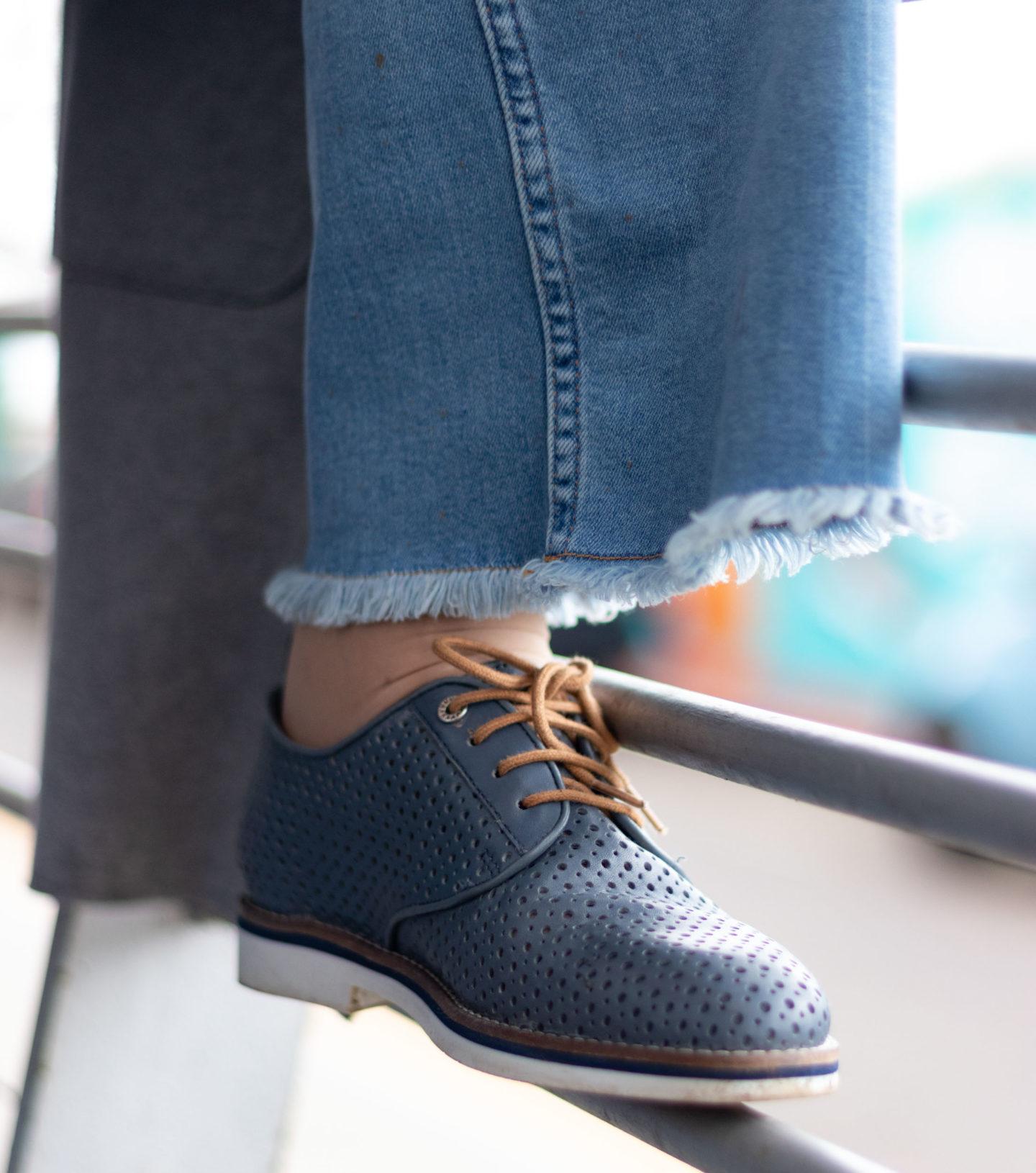 Van Dal lace-up denim shoes