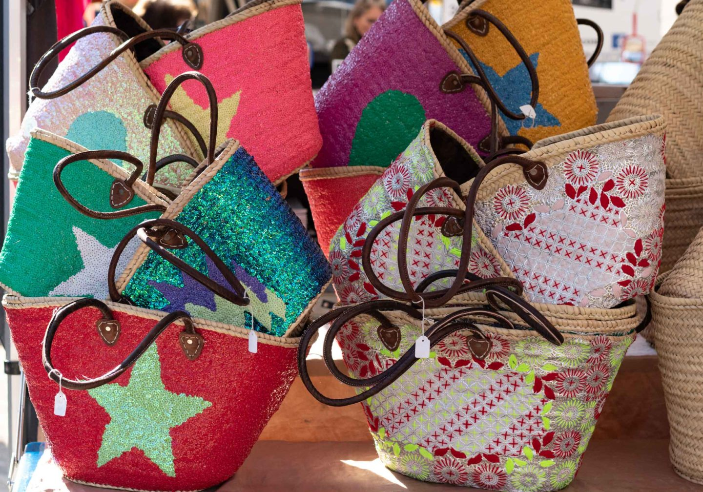 Colourful Straw baskets